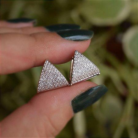 Brinco argolinha triangular zircônia ródio semijoia 3556
