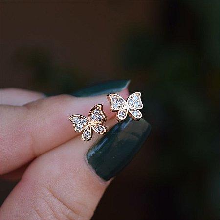 Brinco borboleta zircônia ouro semijoia 20A03042