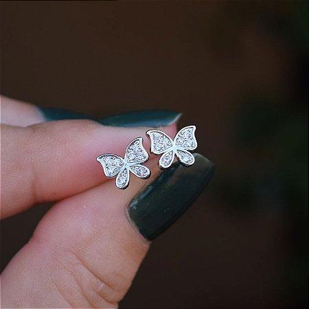 Brinco borboleta zircônia ródio semijoia 20A03042