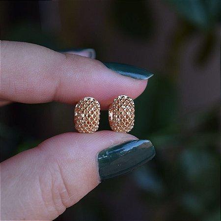 Brinco argolinha vazado m ouro semijoia 20A03046