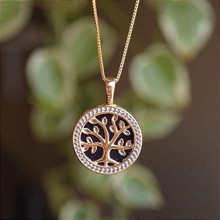 Colar árvore da vida pedra natural estrela ouro semijoia
