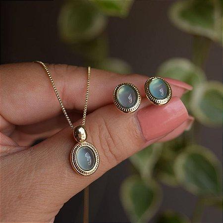 Colar e brinco oval pedra natural ágata azul céu ouro semijoia
