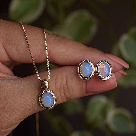 Colar e brinco oval pedra natural opalina ouro semijoia