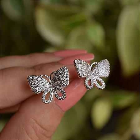 Brinco borboleta zircônia ródio semijoia
