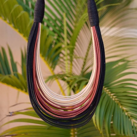 Colar Design Natural fios de algodão tricolor CO 1307