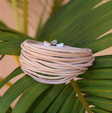 Pulseira Design Natural fios de algodão bege