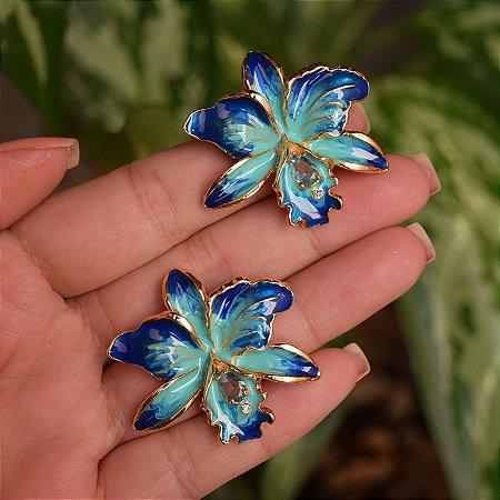 Brinco orquídea azul dourado