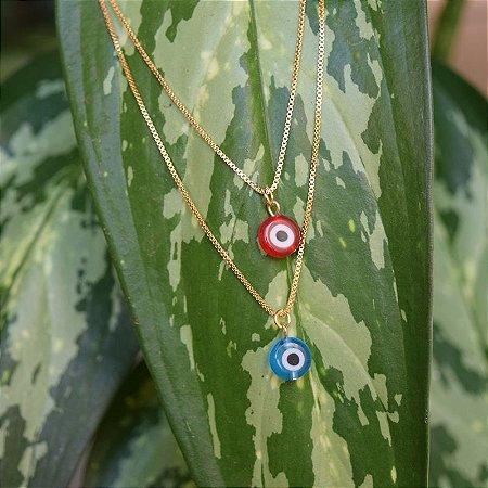 Colar duplo olho grego ouro semijoia