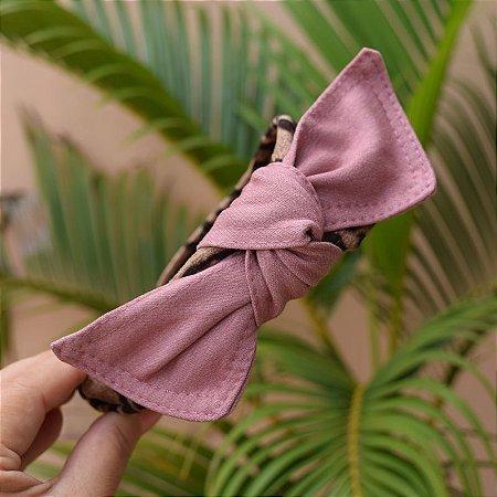 Tiara laço removível tecido oncinha com laço rosa