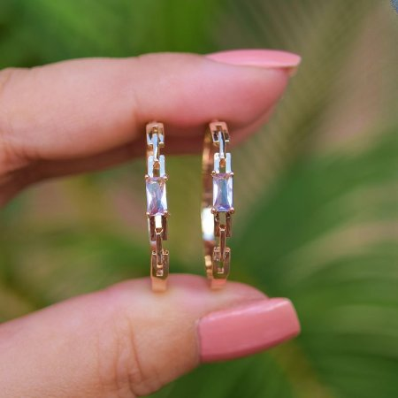 Brinco argola cristal rosa claro ouro semijoia 20A04019