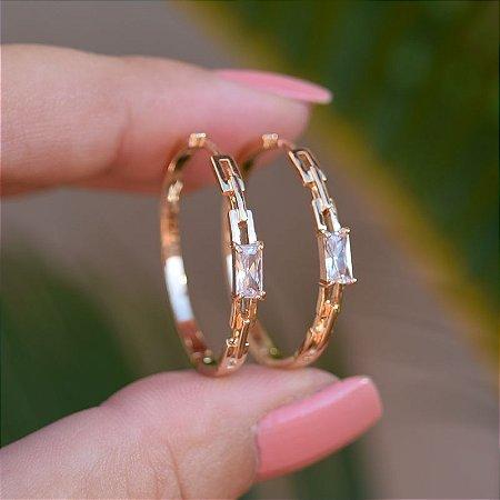 Brinco argola cristal ouro semijoia 20A04019