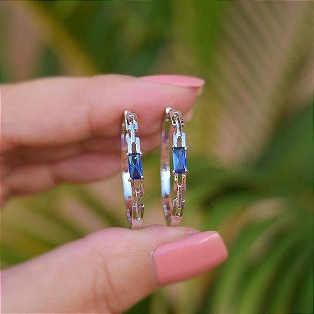 Brinco argola cristal azul ródio semijoia 20A04019