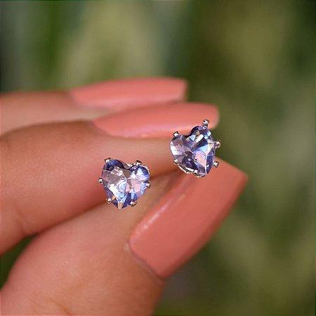 Brinco coração zircônia lilás prata 925