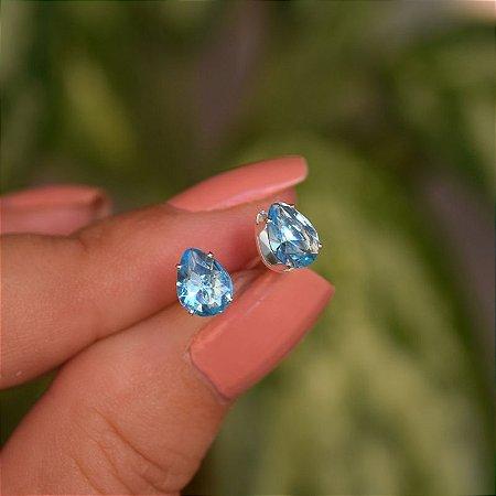 Brinco gota zircônia azul prata 925