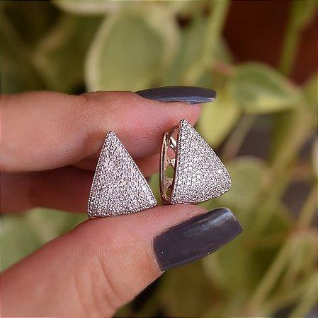 Brinco argola triangular zircônia ródio semijoia 18K06011