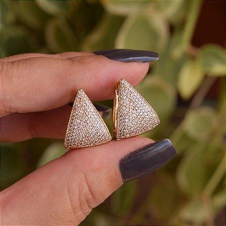 Brinco argola triangular zircônia ouro semijoia 18K06011