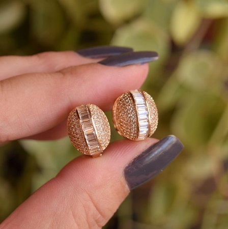 Brinco argolinha zircônia ouro semijoia 18K17049