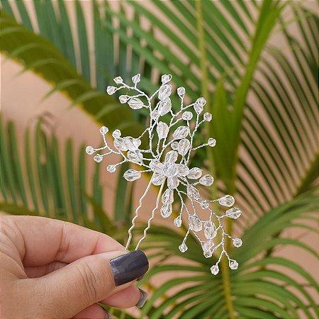 Arranjo de cabelo para noiva cristais semijoia