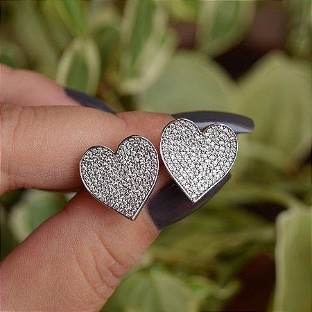 Brinco coração zircônia ródio semijoia 18k17051
