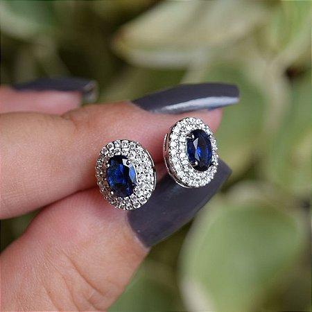 Brinco oval zircônia azul marinho ródio semijoia 15k08024