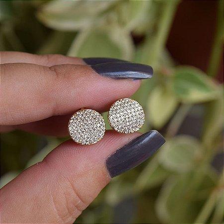 Brinco argolinha redonda zircônia ouro semijoia 19k02045