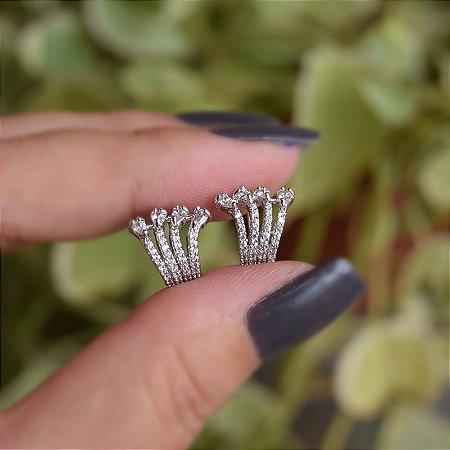 Piercing de encaixe par garras zircônia ródio semijoia 19k09001