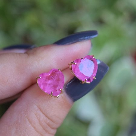Brinco coração cristal fusion pink ouro semijoia