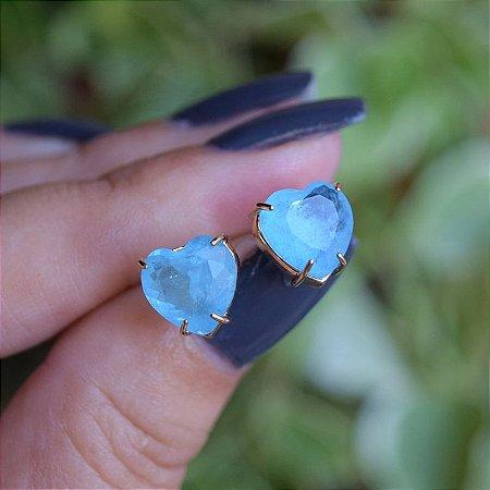 Brinco coração cristal fusion azul ouro semijoia