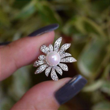 Broche flor pérola e zircônia ródio semijoia 18k15015