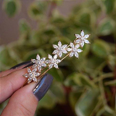 Presilha flores zircônia dourado 19a05023