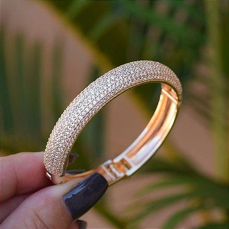 Bracelete zircônia ouro semijoia 19a01005