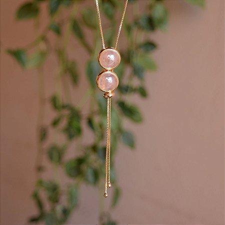 Colar gravatinha pedra natural quartzo rosa ouro semijoia