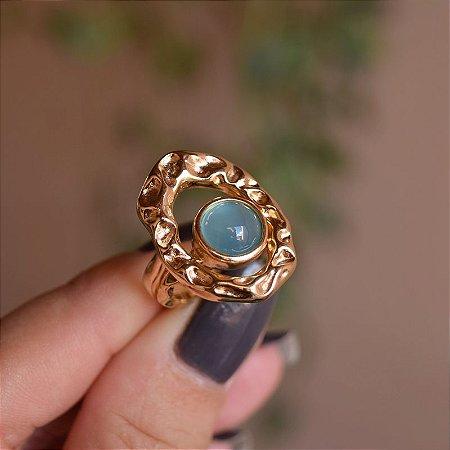 Anel duplo chapa oval vazado pedra natural ágata azul céu ouro semijoia