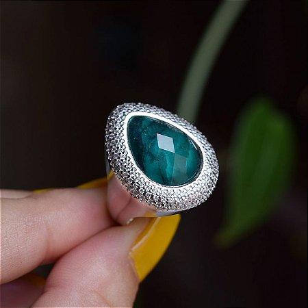 Anel gota pedra natural esmeralda zircônia ródio semijoia