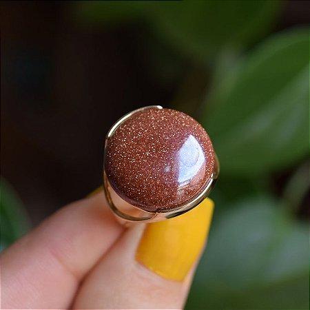 Anel redondo pedra natural pedra do sol perolado ouro semijoia