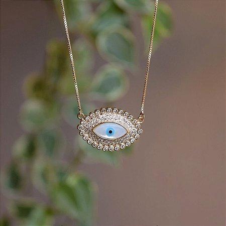 Colar olho grego madrepérola zircônia ouro semijoia