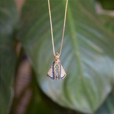 Colar Nossa Senhora Aparecida zircônia azul ouro semijoia
