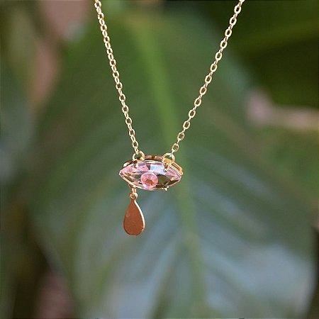 Colar olho grego cristal rosa ouro semijoia