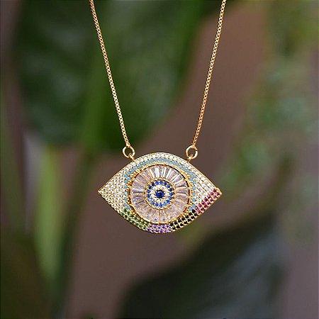 Colar olho grego zircônias coloridas ouro semijoia