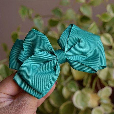 Presilha bico de pato infantil laço verde
