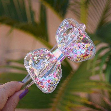Tiara infantil laço transparente com glitter coração