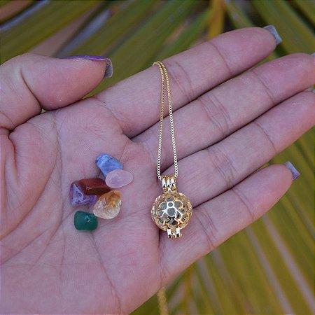 Colar Chamador de Anjo p pedras naturais ouro semijoia