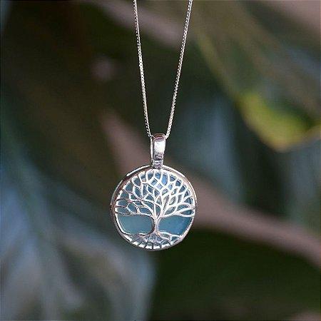Colar árvore da vida pedra natural ágata azul céu prata 925