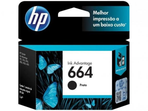 Cartucho de Tinta Original HP664 1115 4536 2136 3636 3836 3635 4676 Preto 2ML