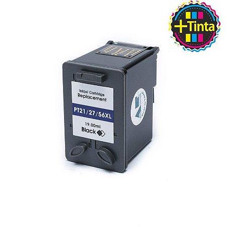 Cartucho de Tinta Compatível com HP 21 27 56 D1360 PSC 1410 F380 Preto 19ML