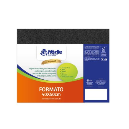 Cartão Preto H - Medida 40x50cm - Pacote 10 unidades
