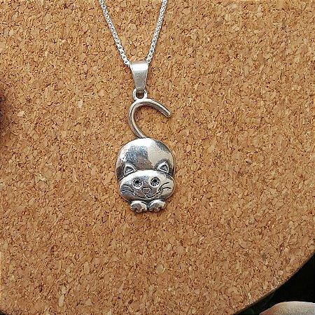 Pingente gato em prata envelhecida