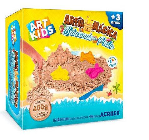 Kit Areia Mágica Brincando Na Praia 400G Art Kids Acrilex