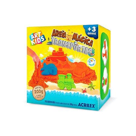 Kit Areia Mágica Brincando Transportes Art Kids Acrilex