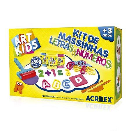 Kit de Massinha Letras e Numeros 40046 Acrilex